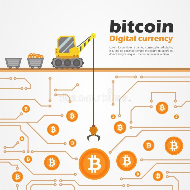 与卡车起重机的Bitcoin数字式货币为在数字式地面传染媒介设计的硬币开掘 皇族释放例证