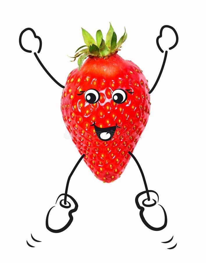 与卡通人物的草莓 免版税图库摄影