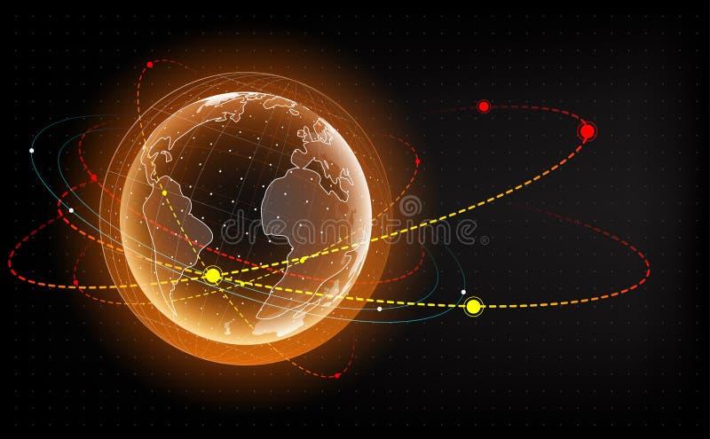 与卫星的地球全息图 在地球附近的人造卫星 地球冲击监视 3d行星的例证 HUD 皇族释放例证