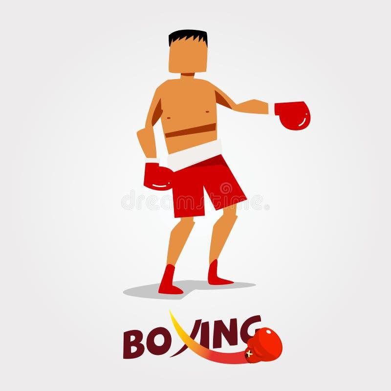与印刷拳击拳打设计的拳击手字符- 皇族释放例证