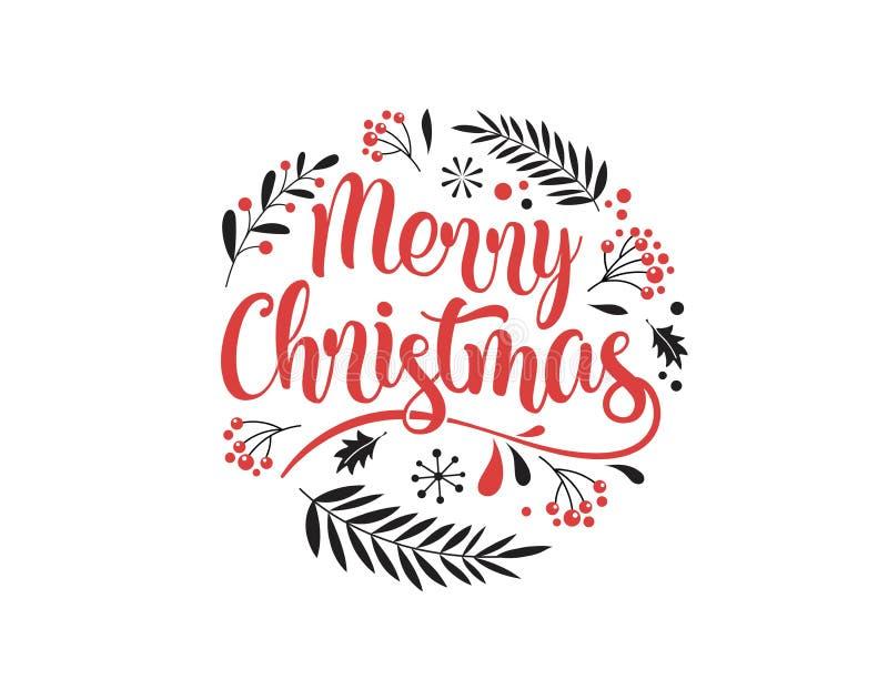 与印刷术的圣诞快乐背景,在上写字 贺卡、横幅和海报 向量例证
