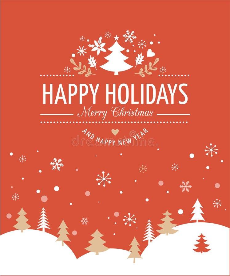 与印刷术的红色圣诞节背景,在上写字 向量例证