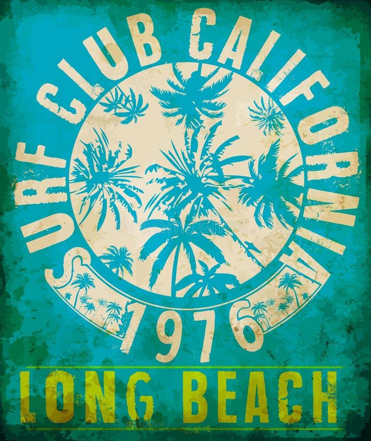 与印刷术设计的海浪俱乐部热带图表 库存例证
