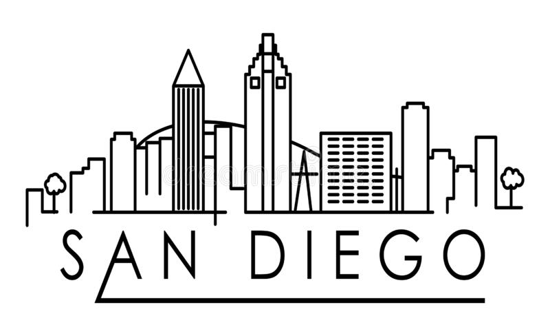 与印刷设计的线性圣地亚哥市剪影 库存例证