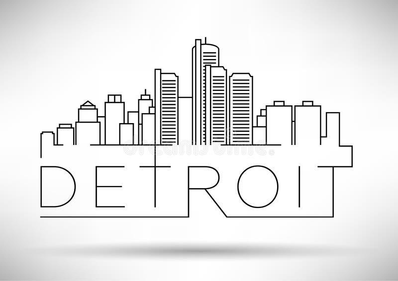 与印刷设计的线性底特律市剪影 免版税库存照片