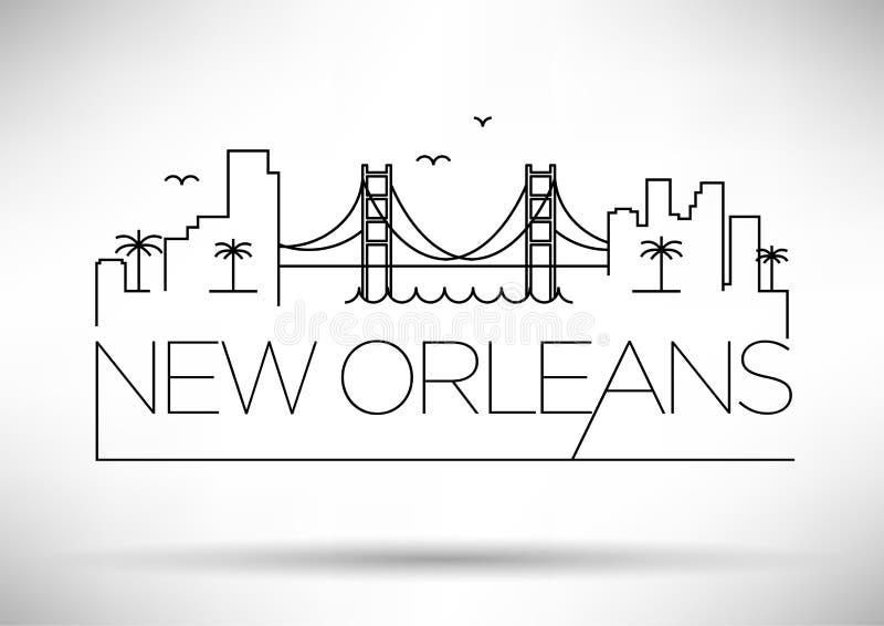与印刷设计的线性新奥尔良市剪影 皇族释放例证