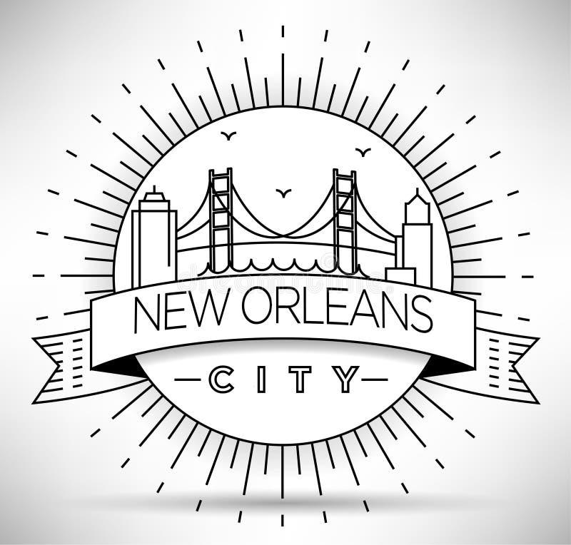 与印刷设计的线性新奥尔良市剪影 库存例证
