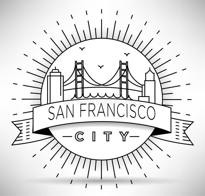与印刷设计的线性旧金山市剪影 图库摄影