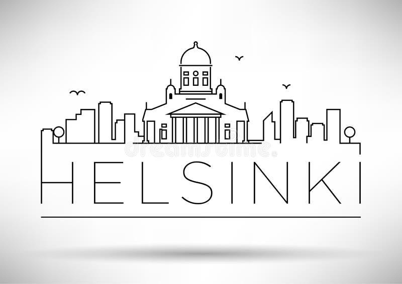 与印刷设计的线性赫尔辛基市剪影 免版税库存照片