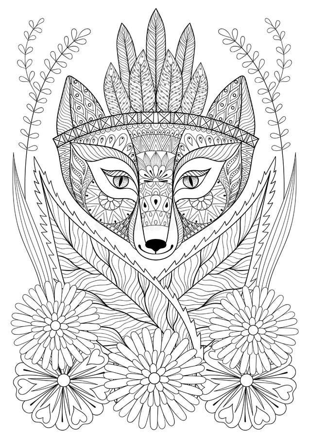 与印地安战争帽子的Zentangle野生狐狸在草和花 皇族释放例证