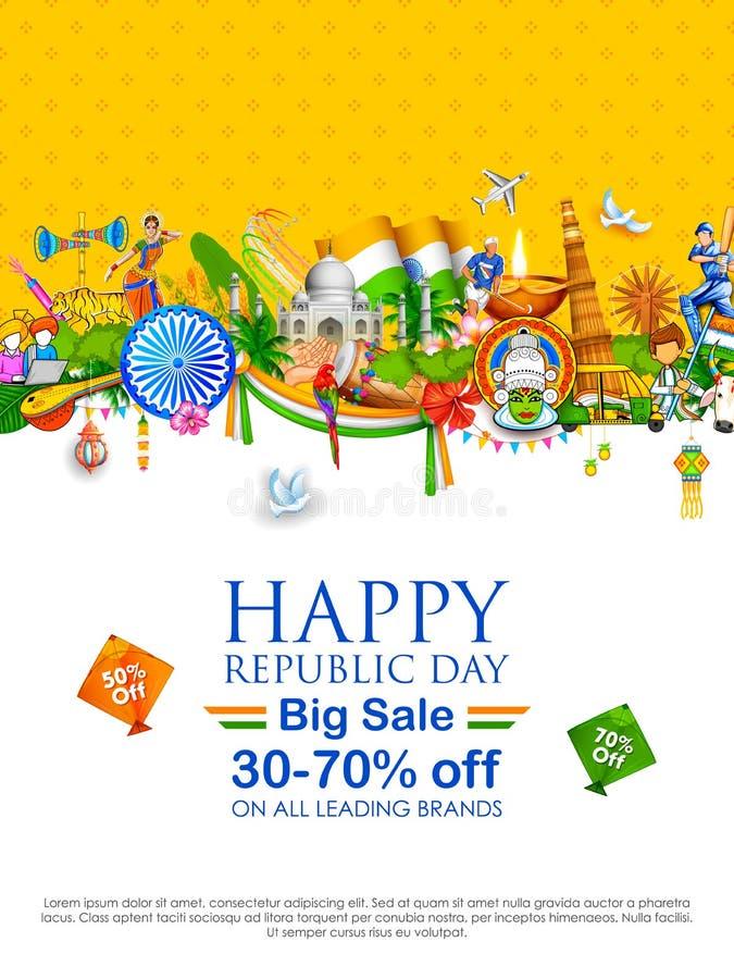 与印地安旗子的三色横幅为1月26日印度的愉快的共和国天 向量例证