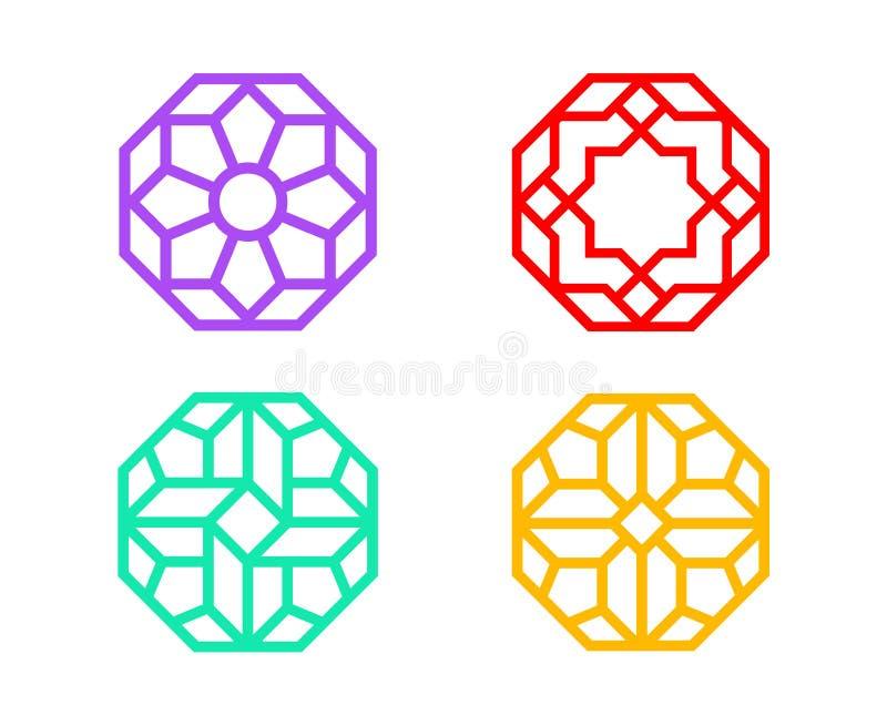 与印地安样式的中国八角形物窗架 库存例证