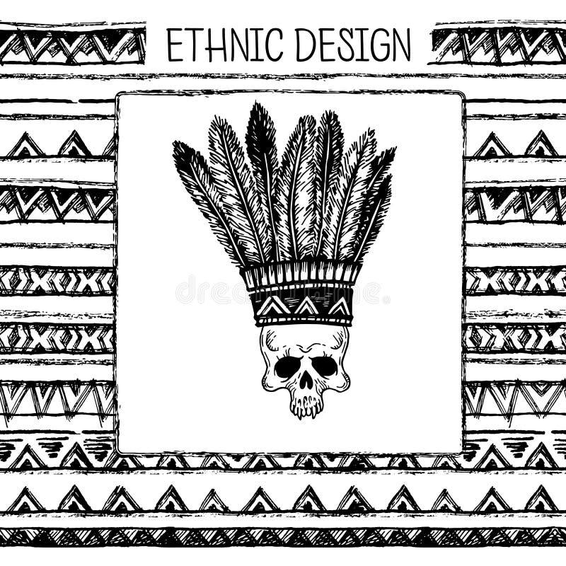 Download 与印地安头饰和头骨的手拉的被绘的无缝的样式 黑白颜色 向量例证. 插画 包括有 靠山, 破擦声, 现有量 - 72361081