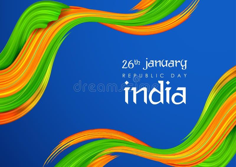 与印度旗子的抽象三色横幅为1月26日印度的愉快的共和国天 库存例证