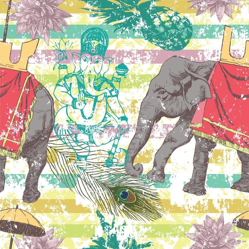 与印度象,花, Ganesha的无缝的样式 向量 库存例证