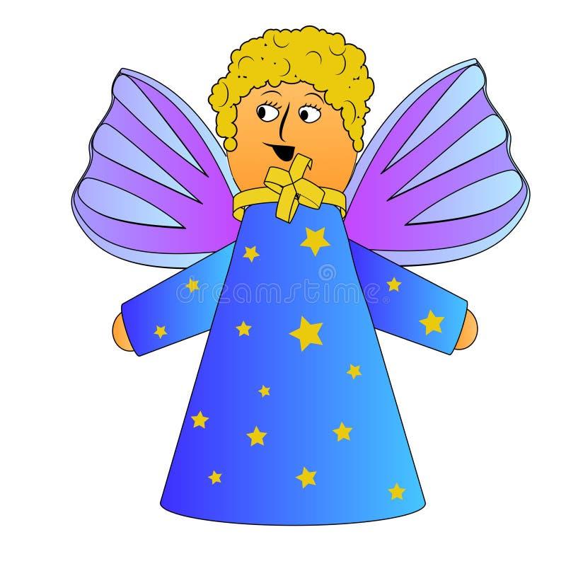 与卷发传染媒介的动画片天使 库存例证
