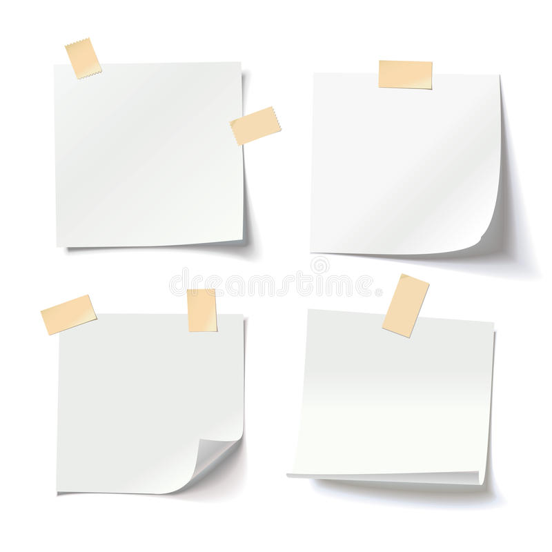 与卷曲的壁角和橡皮膏的白色便条纸,为您的消息准备 库存例证