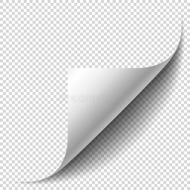 与卷曲的壁角和软的阴影的空白页 板料的角落 向量例证