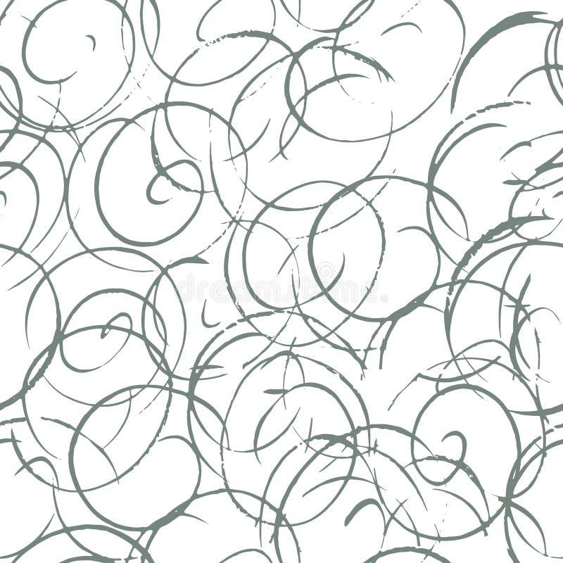 与卷毛的单色书法无缝的样式 与手拉的元素的抽象背景 也corel凹道例证向量 皇族释放例证
