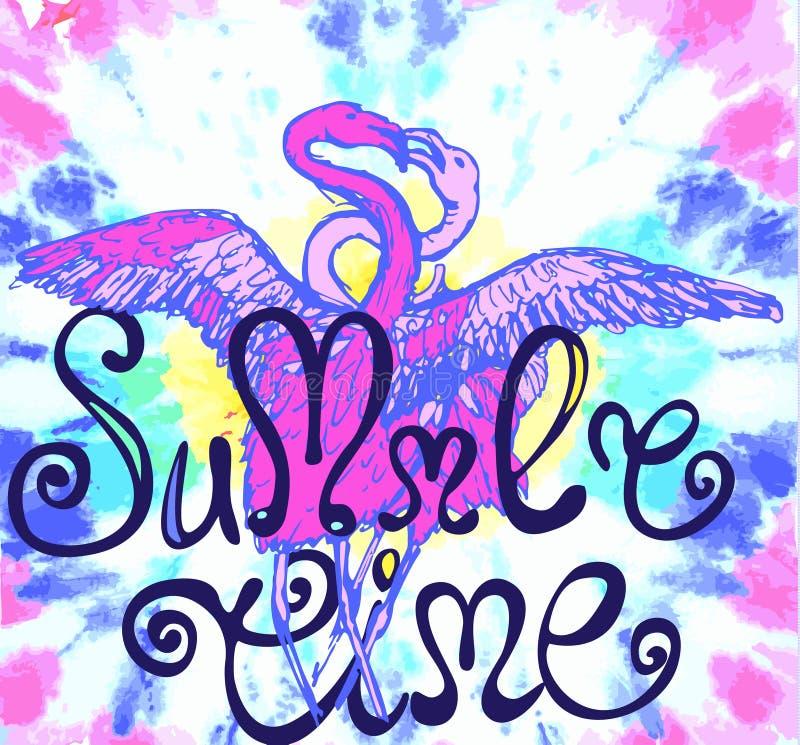 与卷毛的夏时标志与两亲吻的flamingas剪影在水彩纹理的 库存例证