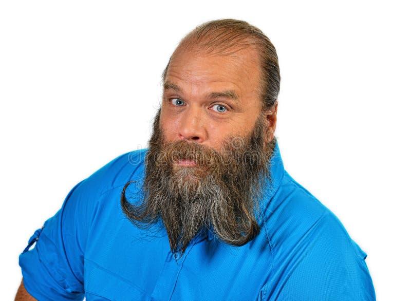 与卷毛的滑稽的面孔在他的胡子 库存图片