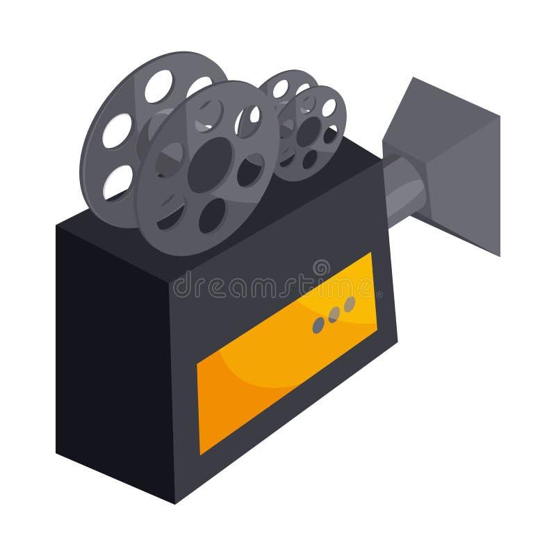与卷轴象,动画片样式的老电影摄影机 向量例证