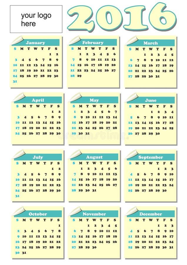 2016与卷轴式记录纸票的全年日历每个月,淡黄色和绿色的,公司商标的空的地方 库存例证