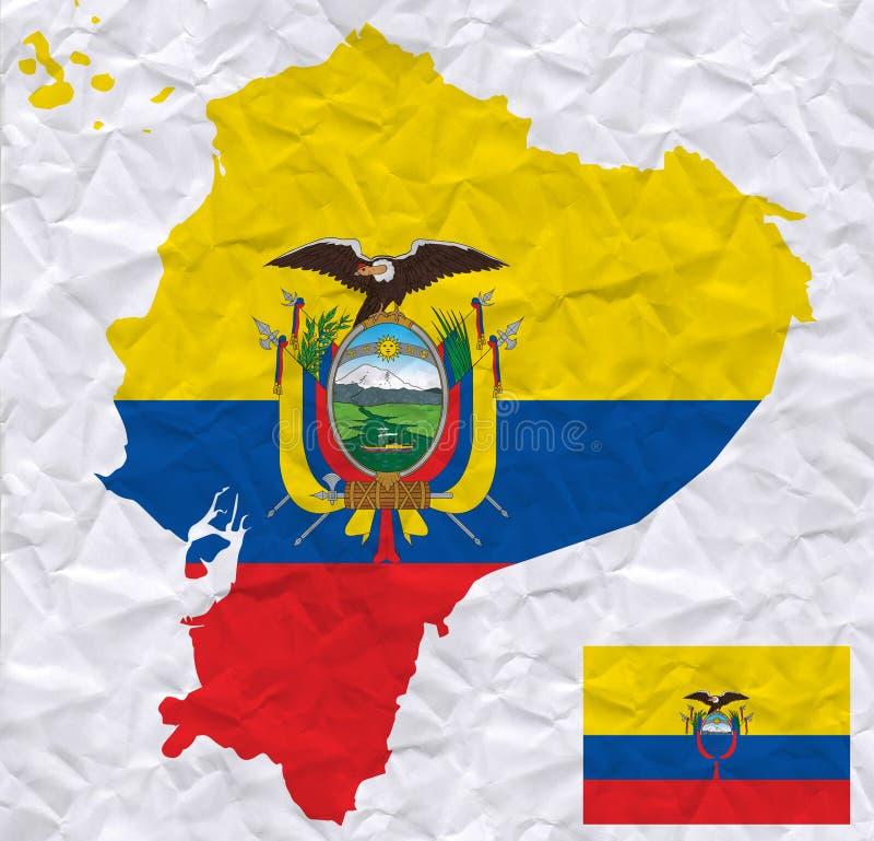 与厄瓜多尔旗子和地图水彩绘画的传染媒介老压皱纸  向量例证