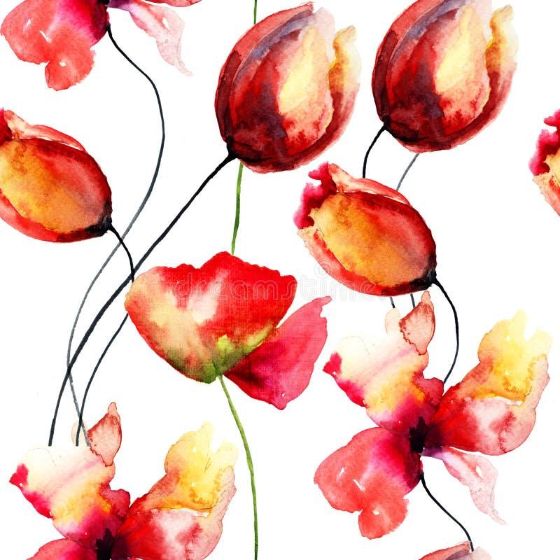 与原始的红色花的水彩例证 库存例证