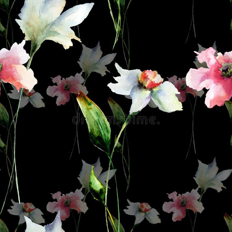 与原始的花的无缝的样式 库存照片