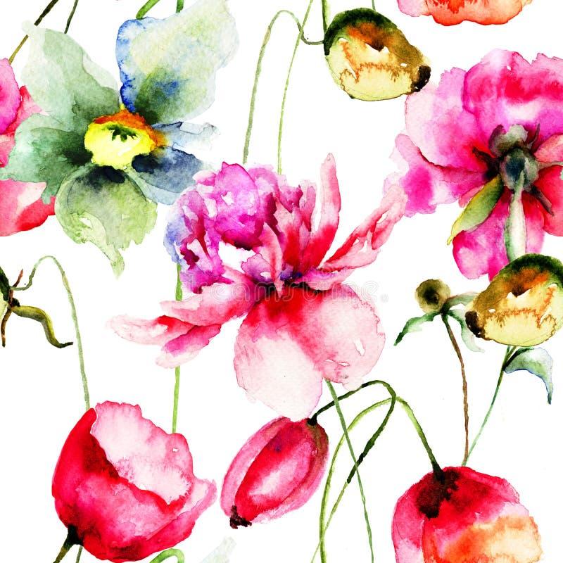 与原始的花的无缝的样式 向量例证