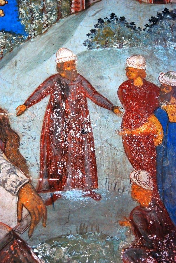 与原始的17世纪壁画的教会内部 向量例证