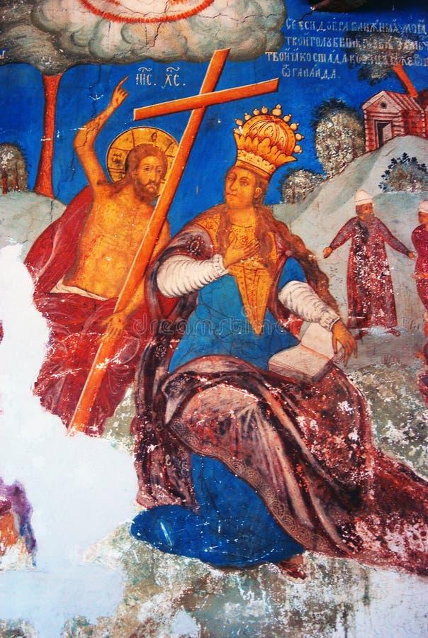 与原始的17世纪壁画的教会内部 库存例证