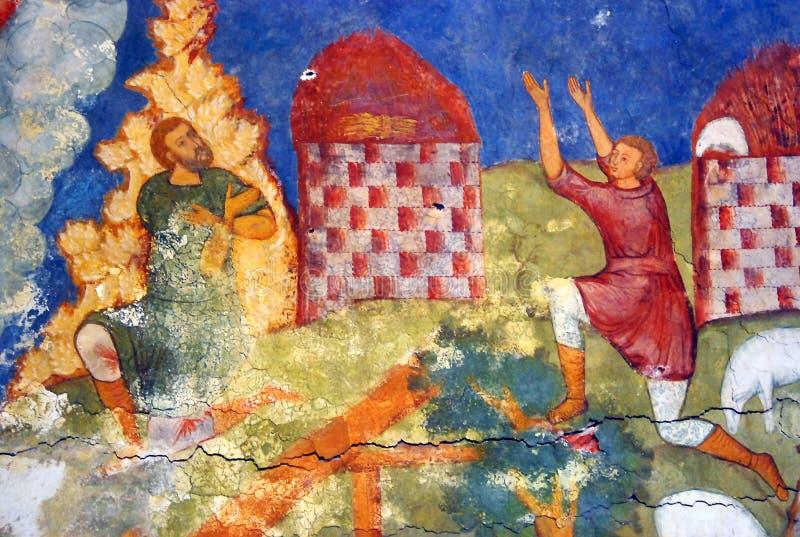 与原来的17世纪壁画的教会内部 库存照片