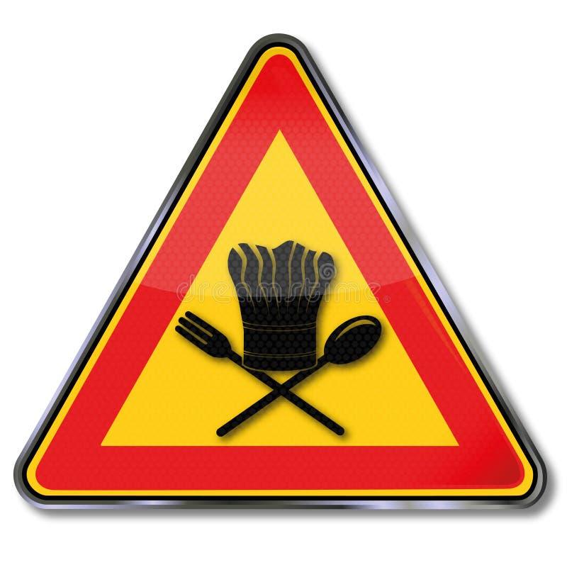与厨师的帽子和厨师的标志 向量例证