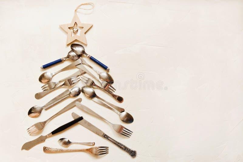 与厨房器具的新年的背景 免版税库存照片