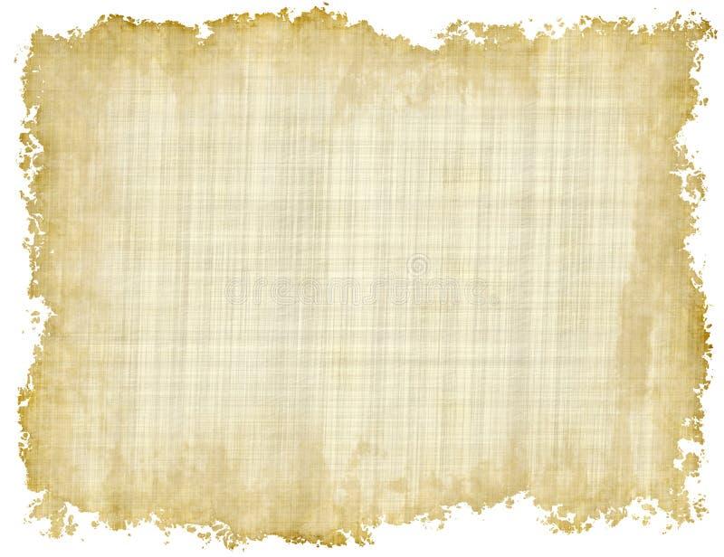与参差不齐的边缘的空白的葡萄酒纸纹理在白色backgroun 库存例证