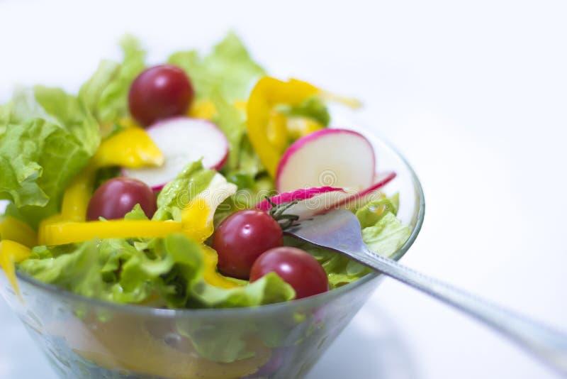 与叉子的菜沙拉 免版税库存照片