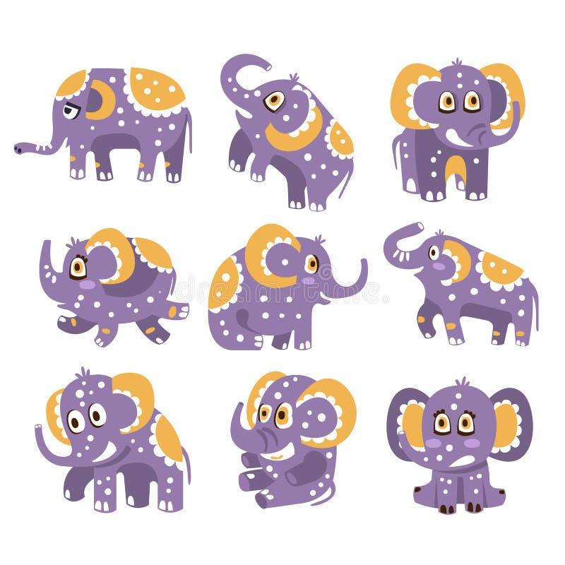 与友好的玩具动物幼稚贴纸或印刷品短上衣被加点的样式系列的风格化大象在紫罗兰的 皇族释放例证