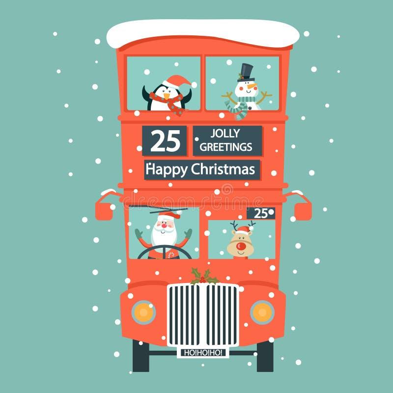 与双层汽车的圣诞节英国卡片 皇族释放例证