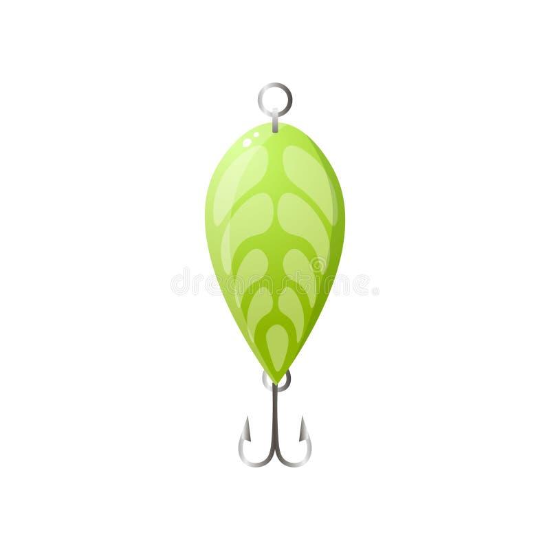 与双重勾子的绿色金属叶子鱼饵 向量例证