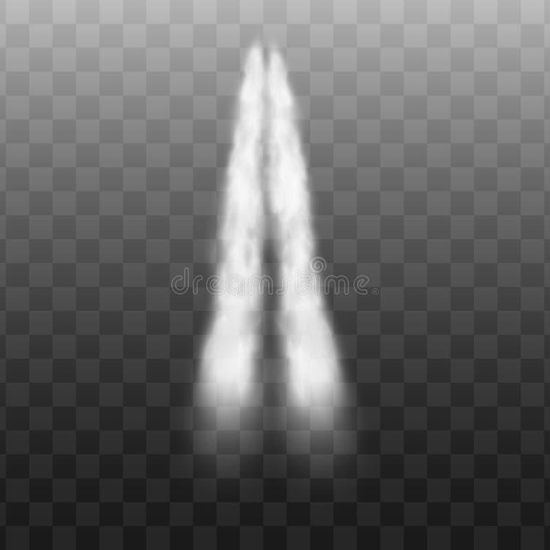 与双重足迹、强有力的火箭或者飞机发射雾踪影rom高速车的白色喷气机烟行动在空气 皇族释放例证