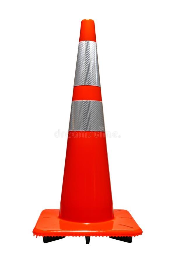 与反射器交通锥体的公路安全桔子 免版税库存图片