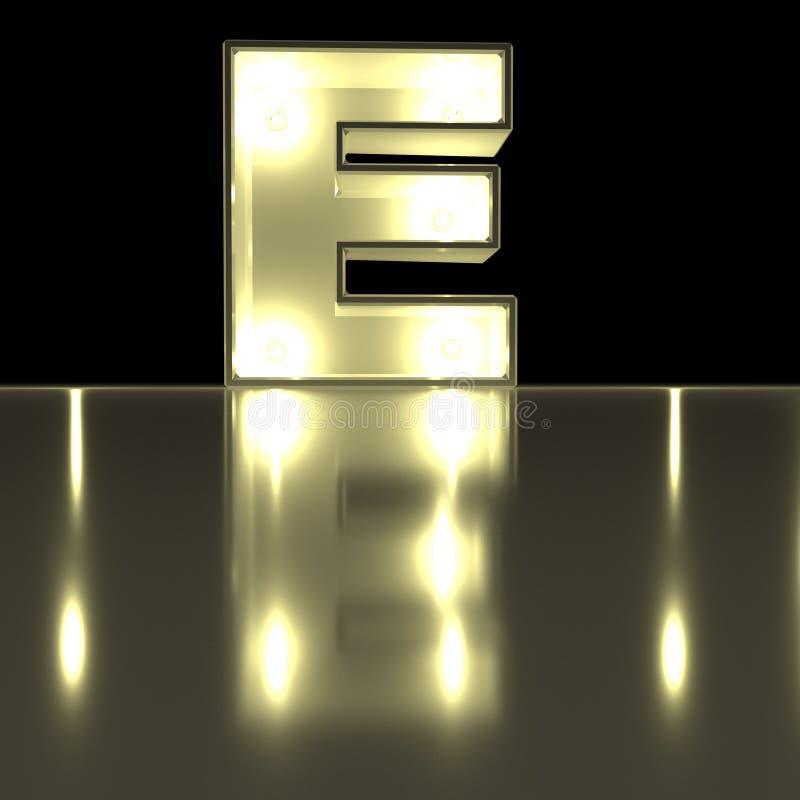 与反射的字符E字体 电灯泡发光的信件alph 皇族释放例证