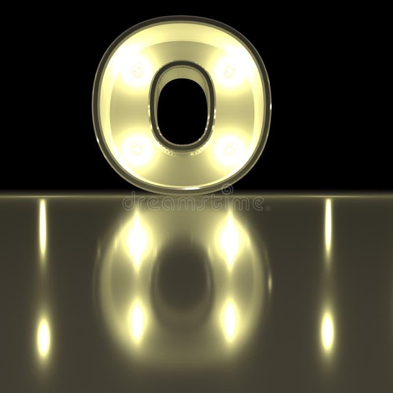与反射的字符O字体 电灯泡发光的信件alph 库存例证