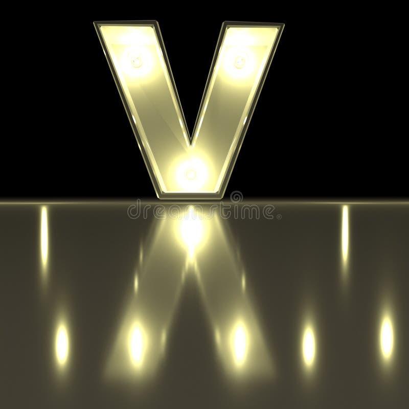 与反射的字符v字体 电灯泡发光的信件alph 皇族释放例证