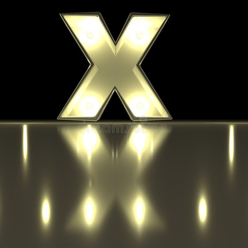 与反射的字符x字体 电灯泡发光的信件alph 皇族释放例证