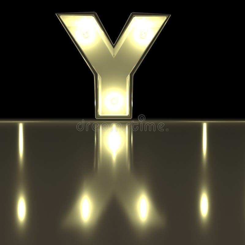 与反射的字符Y字体 电灯泡发光的信件alph 库存例证
