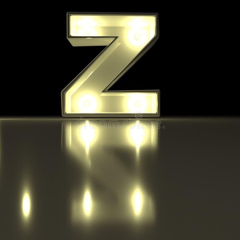 与反射的字符Z字体 电灯泡发光的信件alph 皇族释放例证