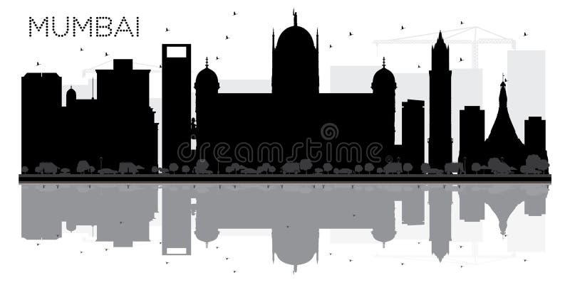 与反射的孟买市地平线黑白剪影 库存例证
